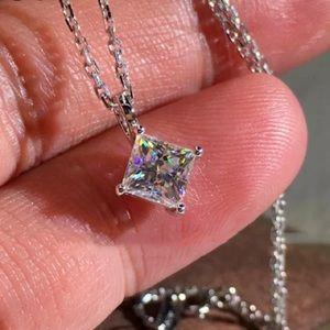 2 Carat Princess Cut Diamond Solitaire Necklace